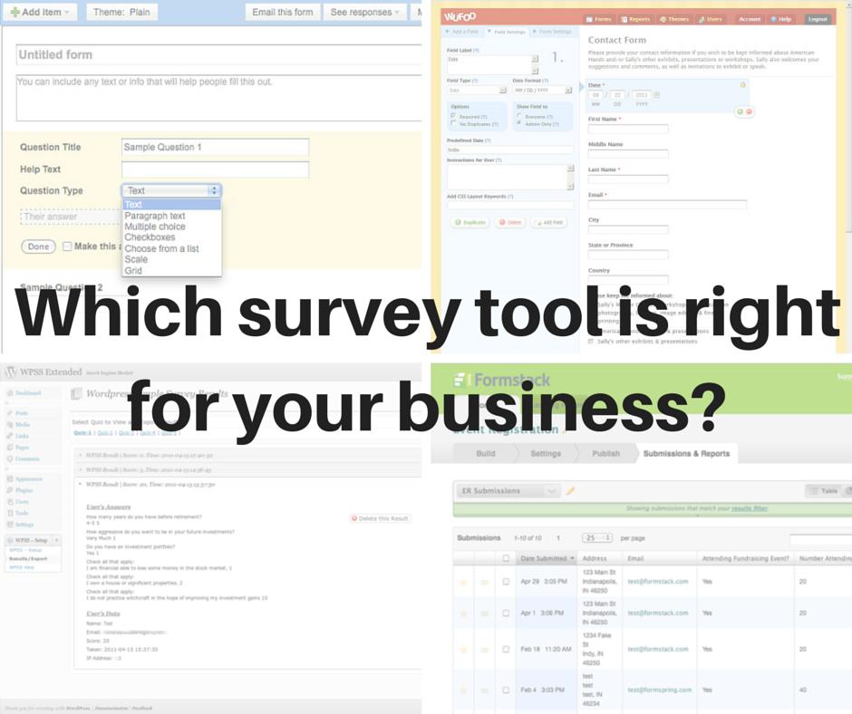Online tools for building surveys